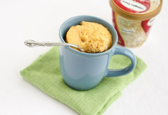 photo of a Pumpkin Quick Bread Mug Cake with a spoon