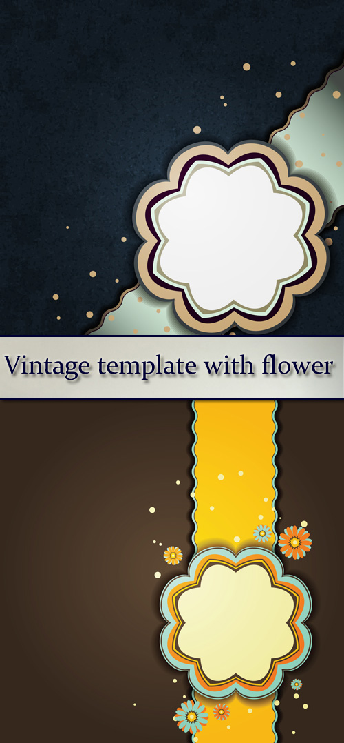 Stock: Vintage template with flower