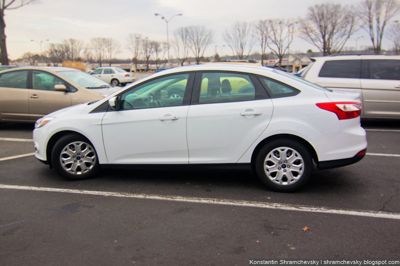Ford Focus III 3 Sedan White Side View Форд Фокус 3 III Седан Белый вид сбоку