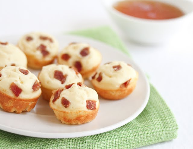 photo of a plate of Mini Bacon Pancake Muffins