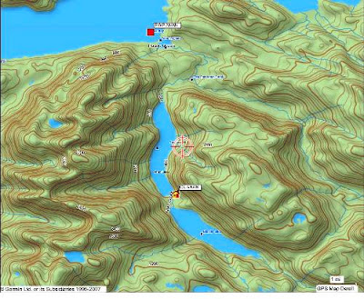 There are two lakes, cabin is on the north one. You can land at the upper lake or take the trail.