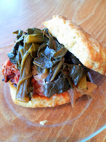 Serious Biscuit crispy hamhock, collard greens with smoked onions biscuit sandwich