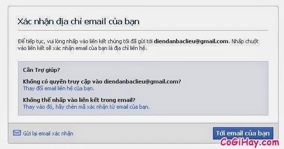xác thực email đăng ký facebook