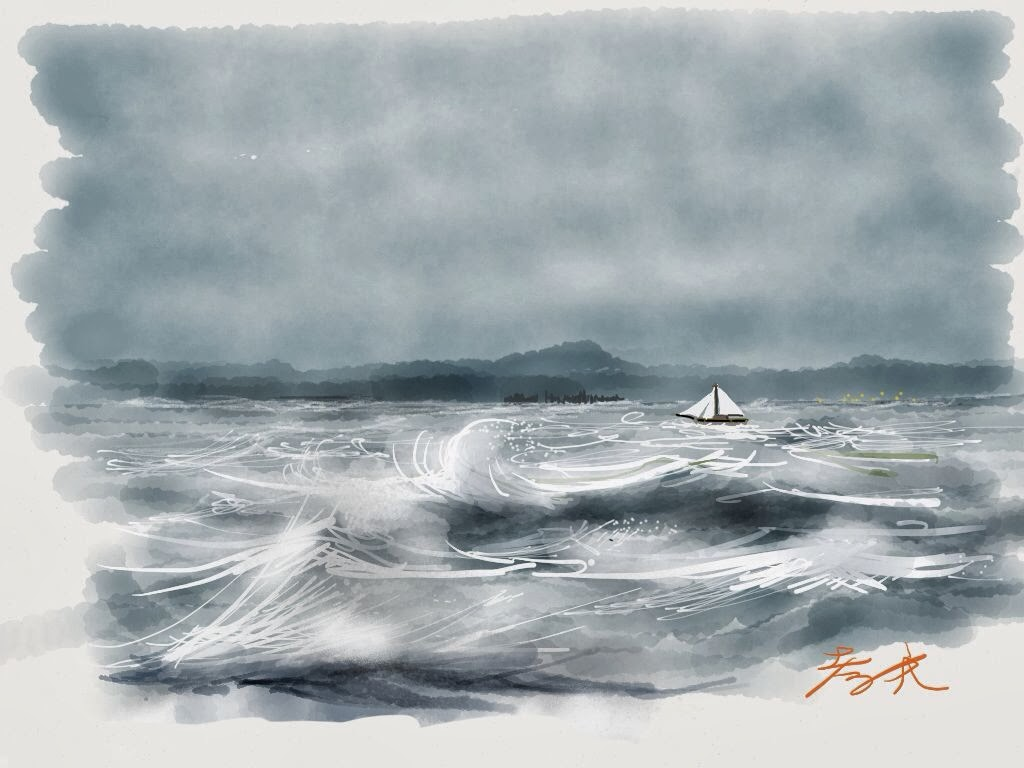 Rough sea made with Sketches