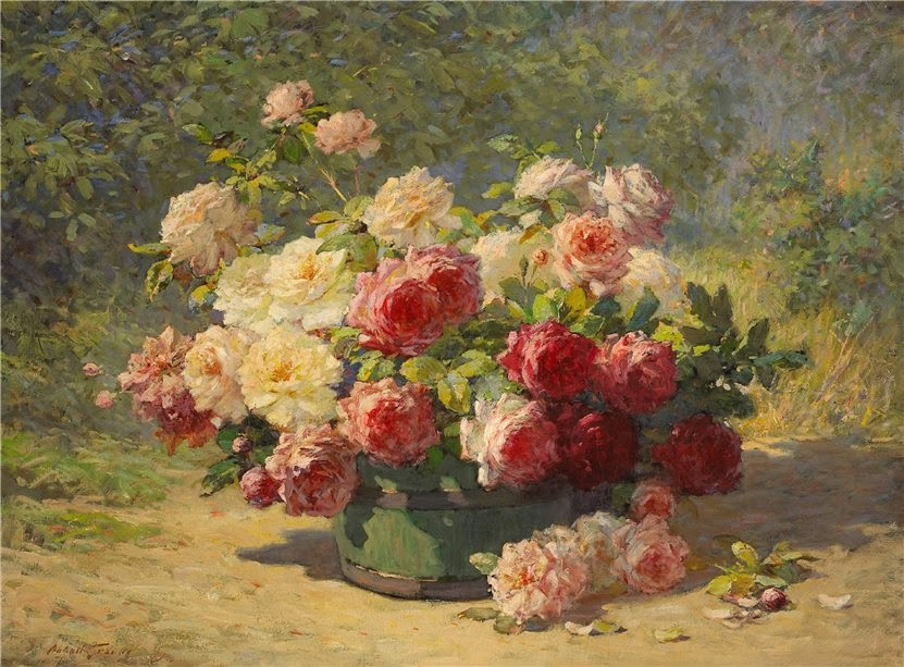 Abbott Fuller Graves - A Mixed Bouquet of Roses in a Green Barrel