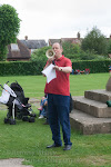 Tim Sledge welcomes picnickers in the North Churchyard