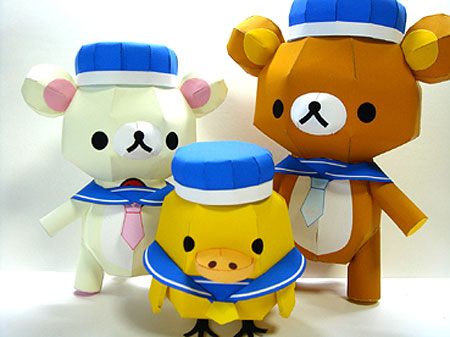 Relax Bear Rilakkuma Sailor Uniform Papercraft