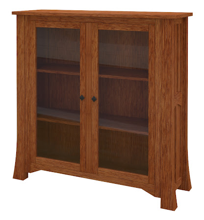 Edmonton Glass Door Bookshelf in Washington Quarter Sawn Oak