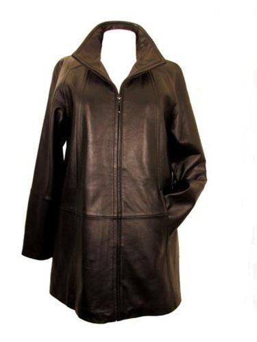 95eba4801 Tibor Design Plus Size Swing Leather Coat-Black-2XL | Cheap Leather ...