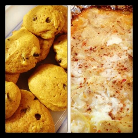 pumpkin chocolate chip cookies and pumpkin potato au gratin