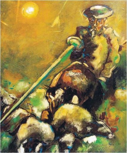 Don Quijote ataca al rebaño de ovejas y carneros