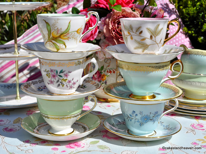 Pastels Tea Set Mismatched Teacups and Saucers