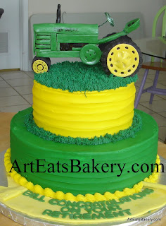 John Deere edible handmade tractor custom retirement cake design with green and yellow butter cream