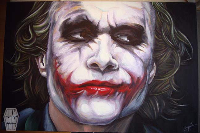 joker dark knight, joker face paint, custom painting, custom oil painting, joker in dark knight rises, horror paintings, akumu ink, horror art, the joker painting, painting oil batman