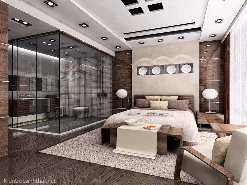 Phòng ngủ kết hợp phòng vệ sinh bằng kính trogn suốt