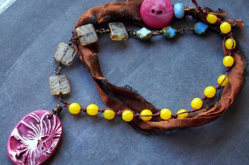 Sari Silk and Glass Pendant by Bead Soup Jewelry