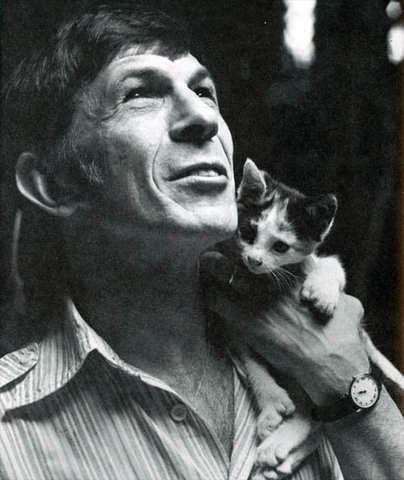 Leonard Nimoy and a cat 2