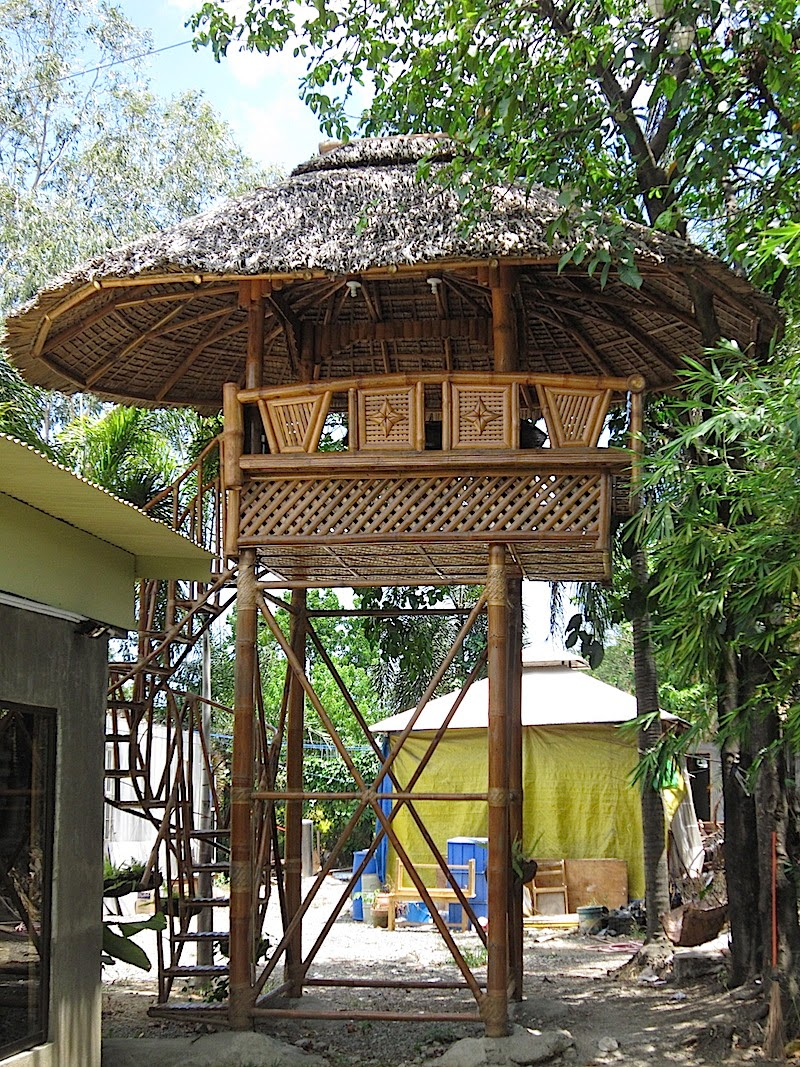 bamboo hut on stilts