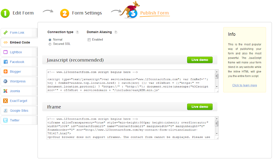 Embed File Upload with Inline HTML