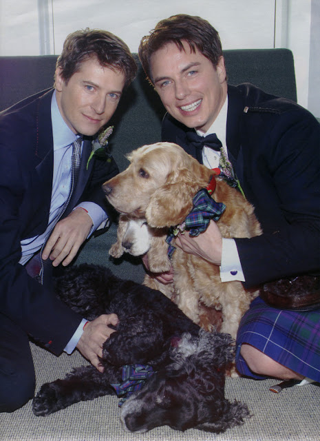 John Barrowman and Scott Gill and dogs