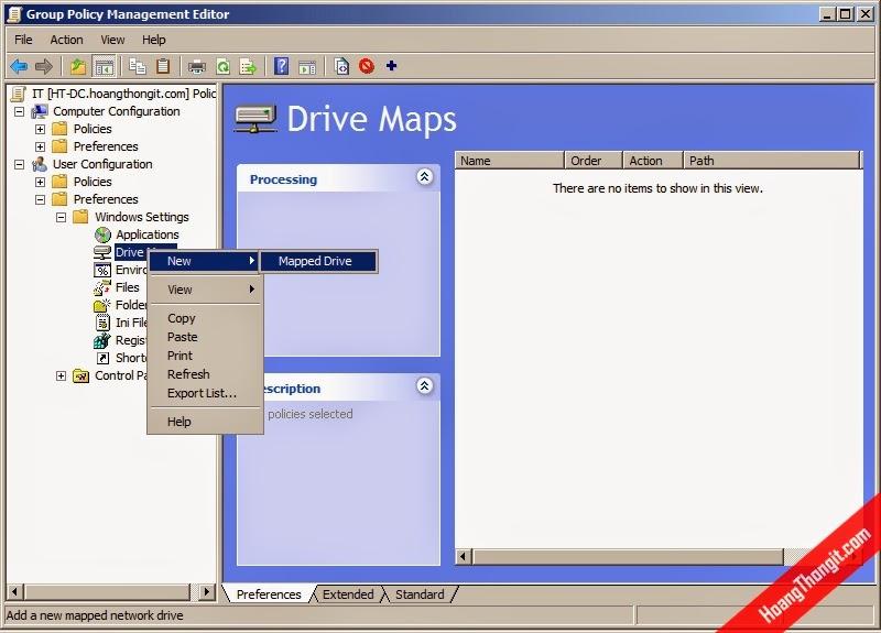 Map ổ đĩa bằng Group Policy Object - GPO