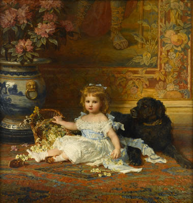 Karl Wilhelm Friedrich Bauerle - Portrait Of Young Girl With A Basket Of Flowers And Her Dog