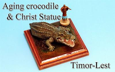Aging crocodile & Christ Statue -Timor-Leste-