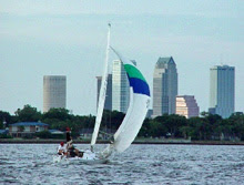 J/24 one-design sailboat- sailing midwinters in Tampa, Florida