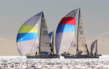 J/120s sailing in San Diego Hot Rum series