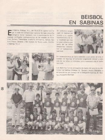 Publicación del campeonato nacional de 1986 en la revista de la CANACO Monterrey