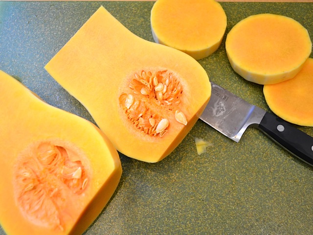 squash cut in half and then sliced