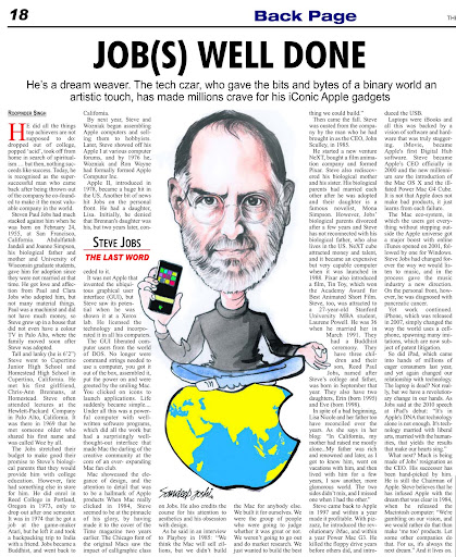 The Last Word column on Steve Jobs published in The Tribune on Monday, August 29, 2011