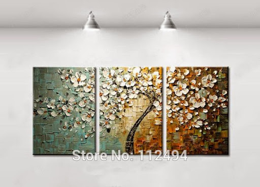 Framed 3 Panel Modern home decoration Abstract knife oi