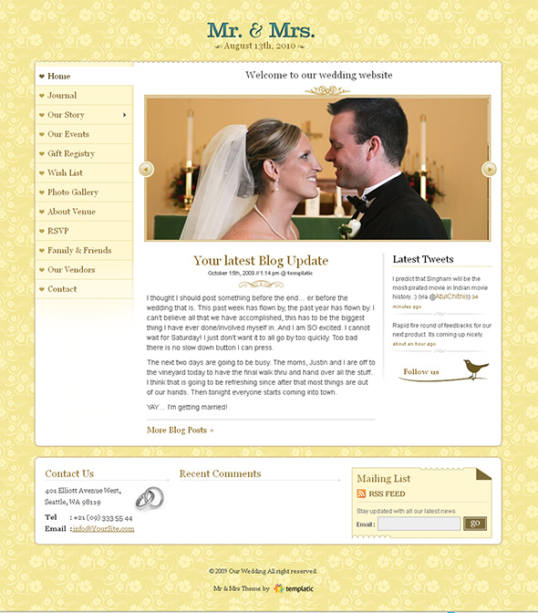 Mr. & Mrs. WordPress Wedding Theme