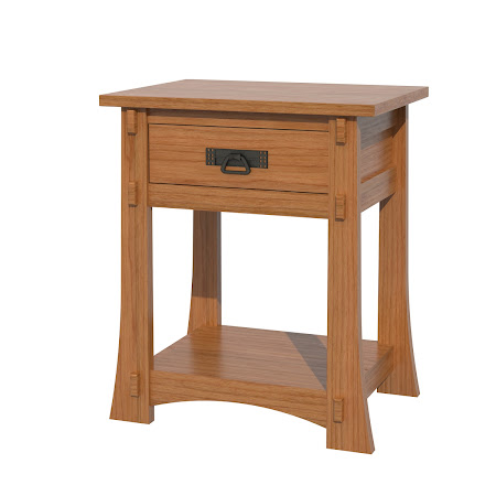 Seville Nightstand with Shelf, Red Cherry