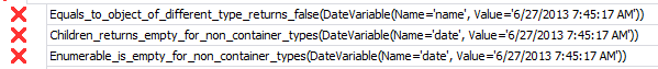 Sample of test names