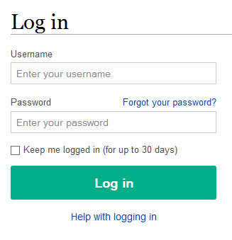 Login page user and password entry