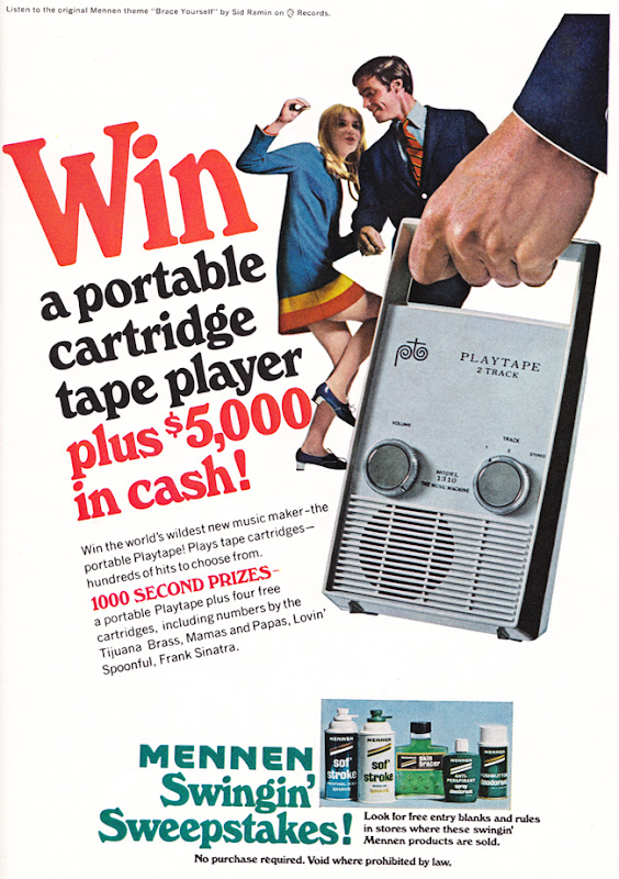 Publicité vintage :Win a portable cartridge tape player. - Pour vous Madame, pour vous Monsieur, des publicités, illustrations et rédactionnels choisis avec amour dans des publications des années 50, 60 et 70. Popcards Factory vous offre des divertissements de qualité. Vous pouvez également nous retrouver sur www.popcards.fr et www.filmfix.fr   - For you Madame, for you Sir, advertising, illustrations and editorials lovingly selected in publications from the fourties, the sixties and the seventies. Popcards Factory offers quality entertainment. You may also find us on www.popcards.fr and www.filmfix.fr