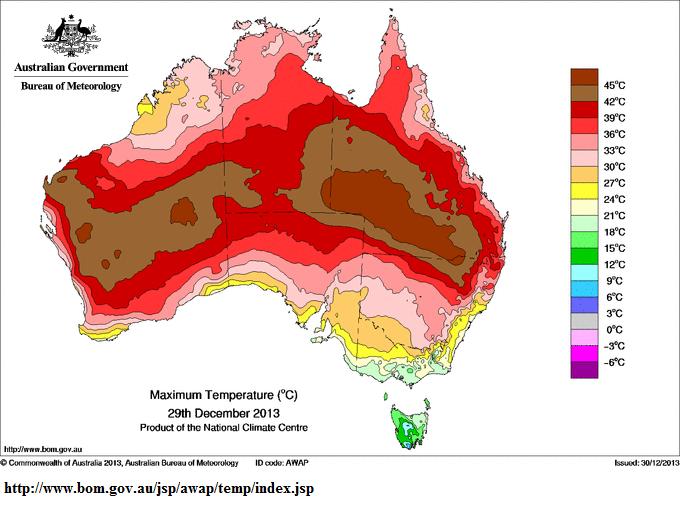 29th dec 2013 max temps qld heat