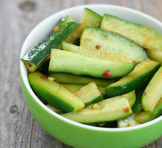 close-up photo of Chinese Spicy Cucumber Salad