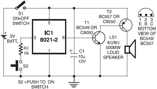 ding dong door bell circuit design using 8021