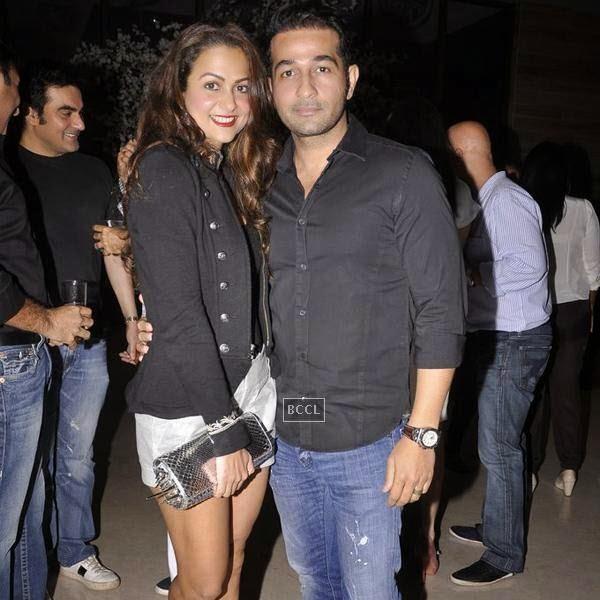 Amrita Arora and husband Shakeel Ladak during the Aqbab club launch at Lower Parel, Mumbai. (Pic: Viral Bhayani)