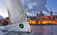 J/122 finishing Rolex Middle Sea Race off Malta