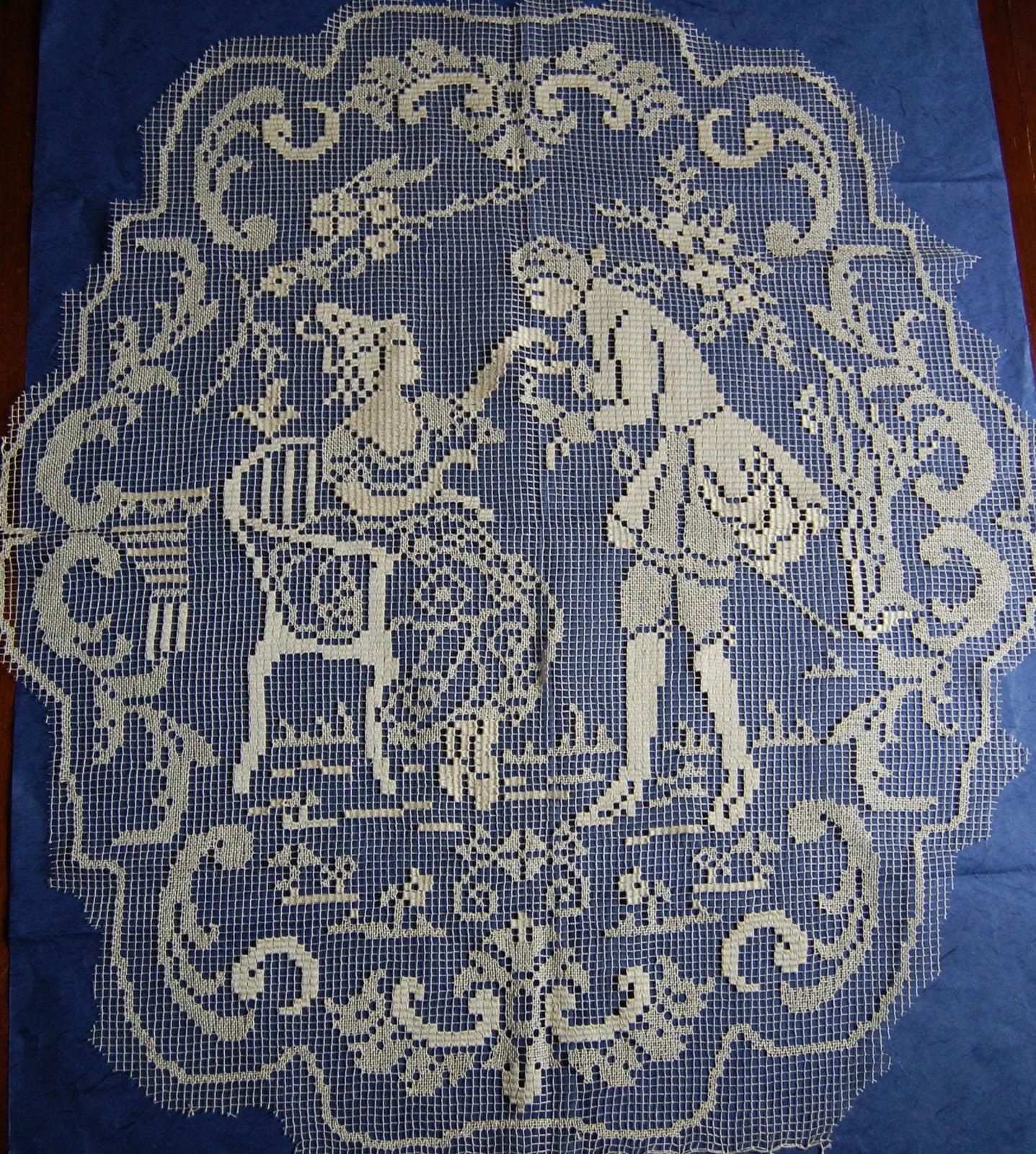 Cose di lino ancora filet - Tende abbinate al copriletto ...