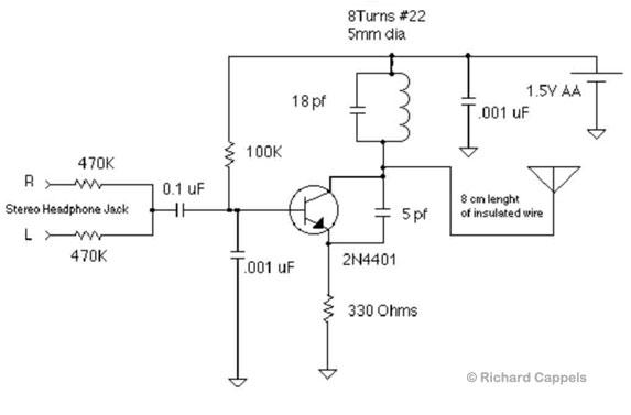 1.5v fm transmitter schematic diagram