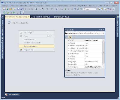 Agregar instalador a proyecto VB.Net ServiceInstaller y ServiceProcessInstaller