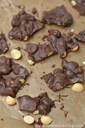 Dark Chocolate Macadamia Cherry Bark    http://www.fearlessdining.com  #dessert  #foodporn  #glutenfree #candy on Diane's Vintage Zest!