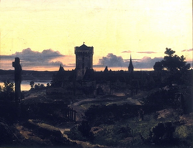 Andreas Achenbach - Zons on the Rhine for evening illumination