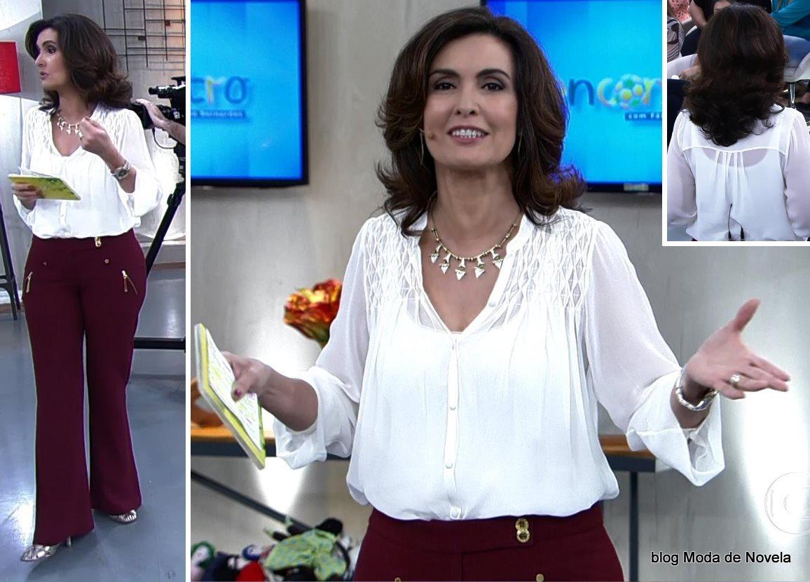 moda do programa Encontro - look da Fátima Bernardes dia 26 de junho