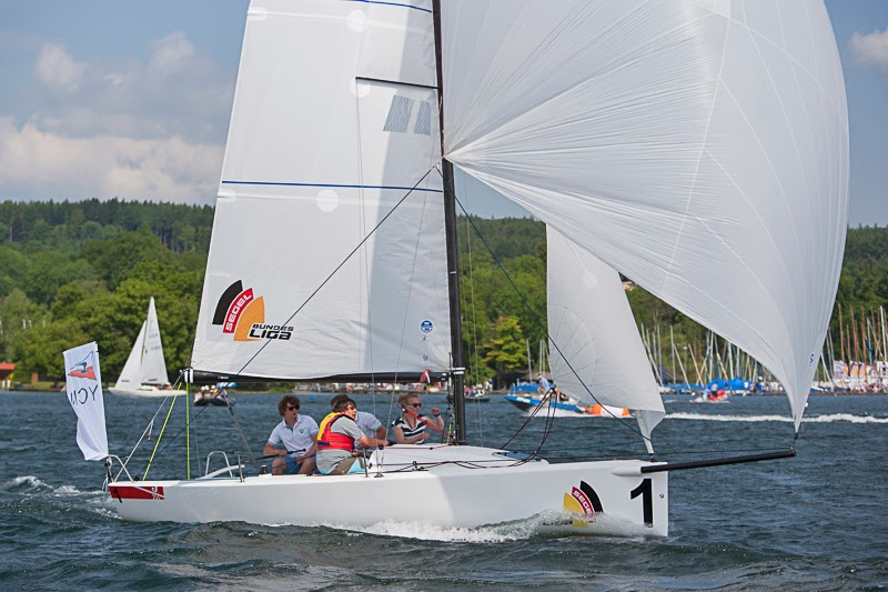 J/70 sailing downwind on German lakes- Deutsche Segel-bundesliga